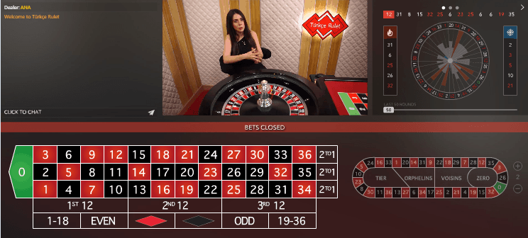 Camera View 1 of Live Roulette