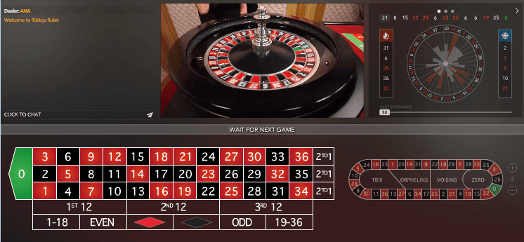 Camera View 2 of Live Roulette