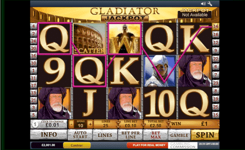 Gladiator Slot Machine Game View