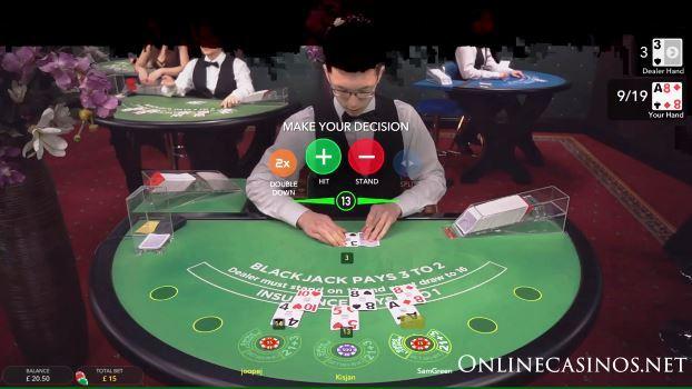 Screenshot of Evolution Gaming Live Blackjack Game