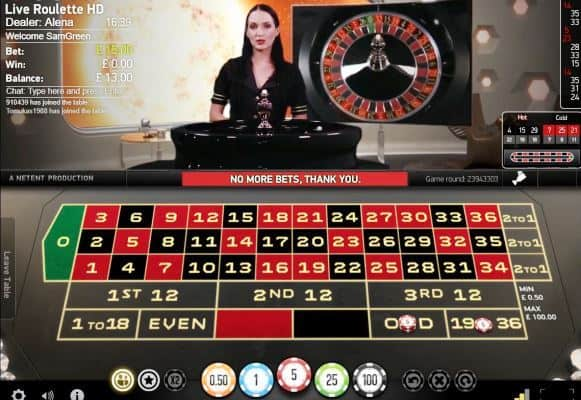 Evolution Gaming's Live Roulette Table Screenshot
