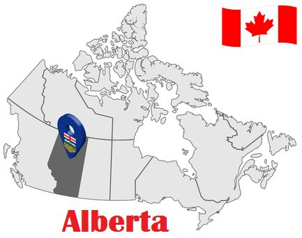 Alberta Province on Map and Canada Flag