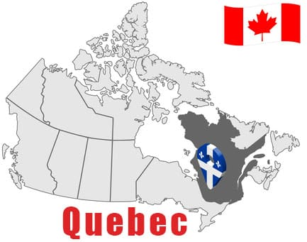 Quebec on Map and Canada Flag
