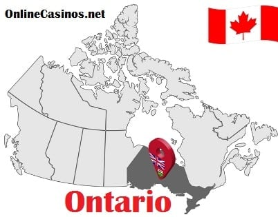 Ontario on Map and Canada Flag