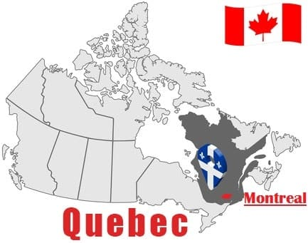 Montreal on Map and Canada Flag