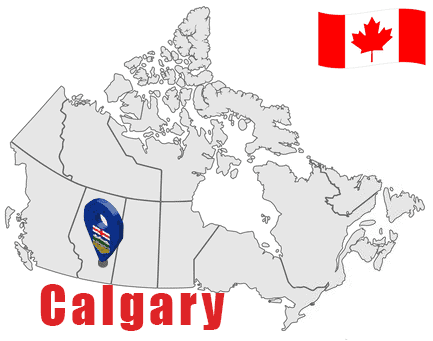 Calgary on Map and Canada Flag