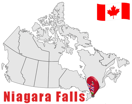 Niagara Falls on Map and Canada Flag