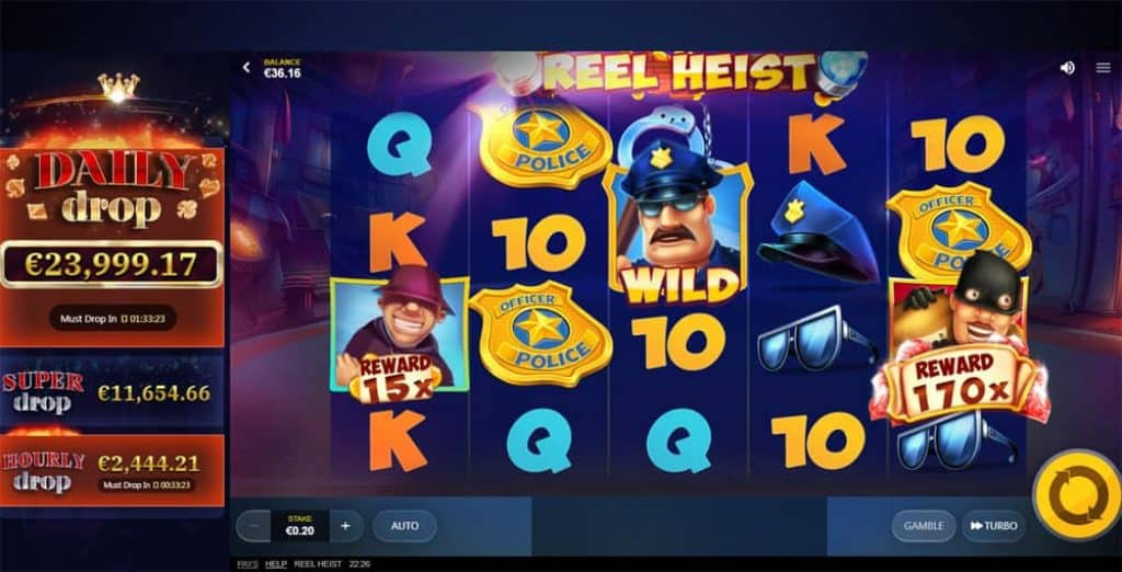 Reel Heist Daily jackpot Drop Slot View