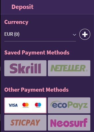Payment Methods in Cashier