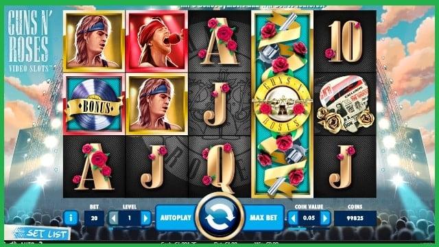 Guns N Roses Slot Machine Game View